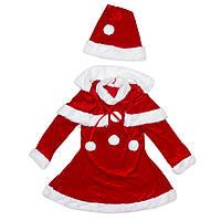 Детский карнавальный костюм новогодний для девочки, рост 110-120 см, красный, вискоза, полиэстер (CC606B)
