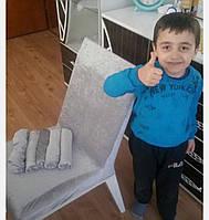 Набор чехлов на кухонный стул велюровый, набор 6 шт(Турция) Серый