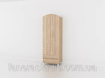 Шафа з двома дверима і двома ящиками для одягу, меблі з вологостійкого МДФ Дуб Сонома