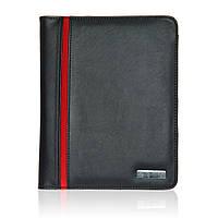 Папка для документов Модена А5 с блокнотом, кожзам, черно-красная
