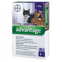 Краплі Bayer Advantage Адвантікс ® 80 від зараження блохами для котів більше 4 кг (4 піпетки*0.8 мл)