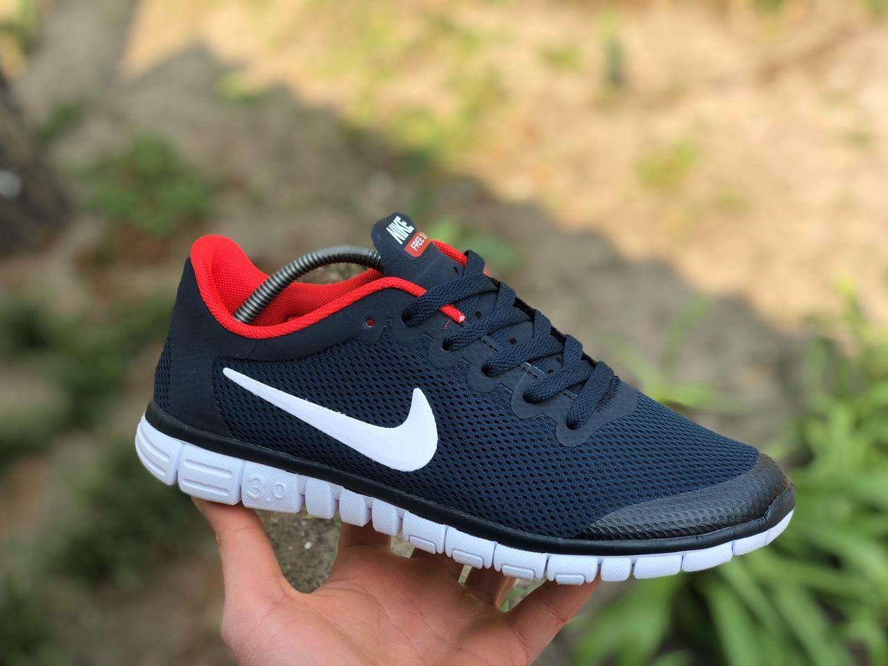 Мужские кроссовки в стиле Nike Free Run 3.0 для бега синие с красным
