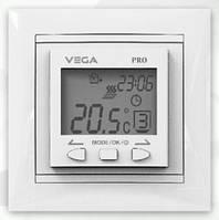 Терморегулятор Vega LTC 090 PRO+ (рамка Schneider Asfora) для теплого пола програмируемый, встроенный
