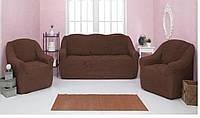 МНОГО ЦВЕТОВ! Набор чехлов на диван и 2 кресла без оборки и рюшей крэш Турция шоколадный