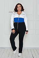 Женский весенний спортивный костюм: свободные штаны и удлиненная кофта с капюшоном, батал большие размеры