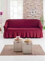 Чехол-покрывало универсальный на большой диван MILANO бордовый (Турция)