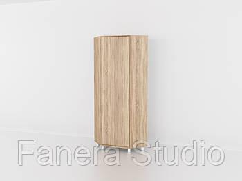 Шафа кутова для одягу на одні двері, меблі з вологостійкого МДФ Дуб Сонома