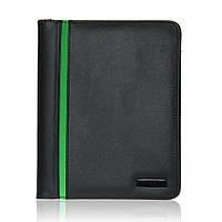 Папка для документов Модена А5 с блокнотом, кожзам, черно-зеленая