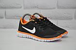 Черные с оранжевым беговые кроссовки сетка в стиле Nike Free Run 3.0, фото 2