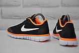Черные с оранжевым беговые кроссовки сетка в стиле Nike Free Run 3.0, фото 3