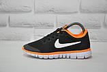 Черные с оранжевым беговые кроссовки сетка в стиле Nike Free Run 3.0, фото 4