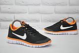 Черные с оранжевым беговые кроссовки сетка в стиле Nike Free Run 3.0, фото 5