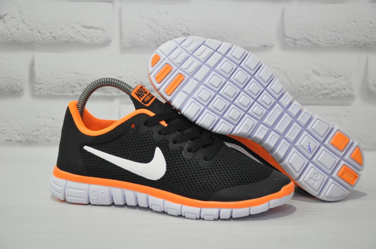 Черные с оранжевым беговые кроссовки сетка в стиле Nike Free Run 3.0