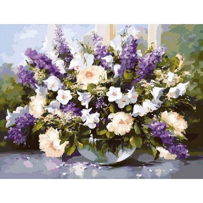 Картина по номерам Идейка -  Большой букет в стеклянной вазе 2 40x50 см (КНО1050)