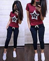 Женский летний повседневный костюм с футболкой с пайеткой tez7405634, фото 1