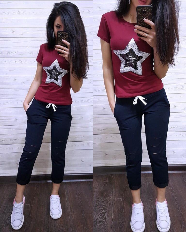 Женский летний повседневный костюм с футболкой с пайеткой tez7405634