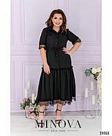 Сукня А-силуету, поділ прикрашений м'якими оборками на рукавах і грудях - тонке мереживо з 50 по 62 розмір, фото 6
