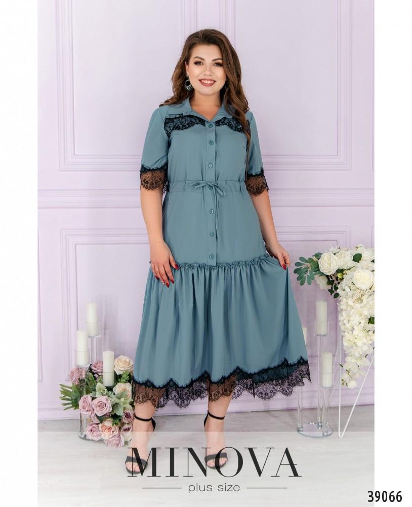 Сукня А-силуету, поділ прикрашений м'якими оборками на рукавах і грудях - тонке мереживо з 50 по 62 розмір