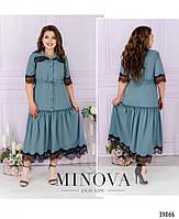 Сукня А-силуету, поділ прикрашений м'якими оборками на рукавах і грудях - тонке мереживо з 50 по 62 розмір, фото 5