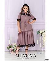 Сукня А-силуету, поділ прикрашений м'якими оборками на рукавах і грудях - тонке мереживо з 50 по 62 розмір, фото 2