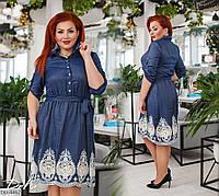 Нарядное джинсовое расклешенное платье с кружевом размеры батал 50-56 арт 41230