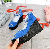 Замшевые туфли на танкетке 36-40 р синий, фото 1