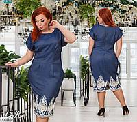 Нарядное джинсовое платье футляр с красивым кружевом внизу размеры 50-56 арт 41235