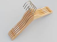 Плечики длиной 38 см. Алюминиевый крючок. Деревянные светлые, 5 штук в упаковке