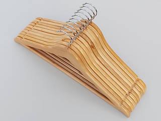 Плечики длиной 45 см деревянные светлые, в упаковке 10 штук