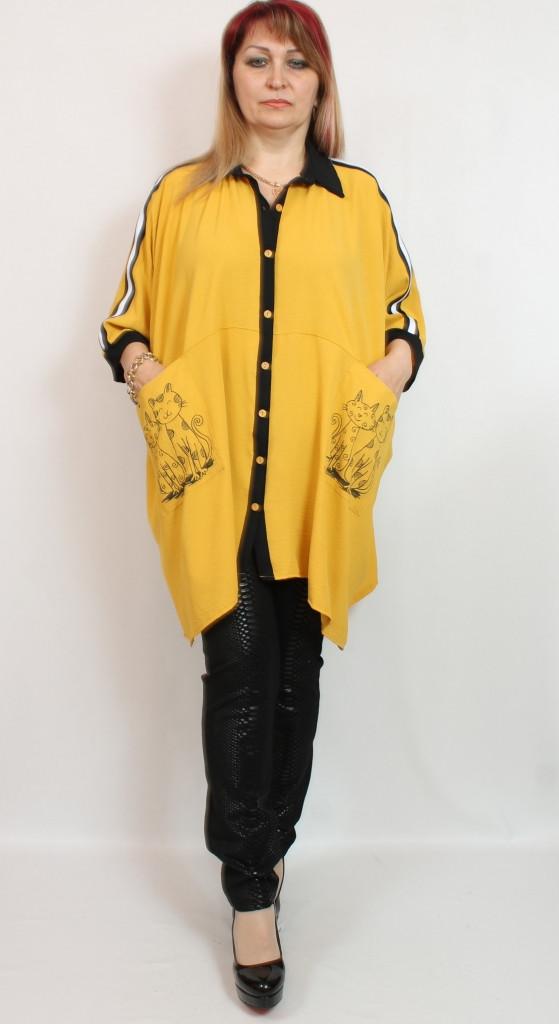 Турецкая женская асимметричная туника-пончо больших размеров 58-72