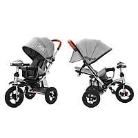 Триколісний велосипед-коляска TILLY Travel T-387, сірий (лляна тканина)