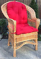 Кресло плетеное кофейное | кресло из лозы с накидкой | кресло плетеное с красной подушкой