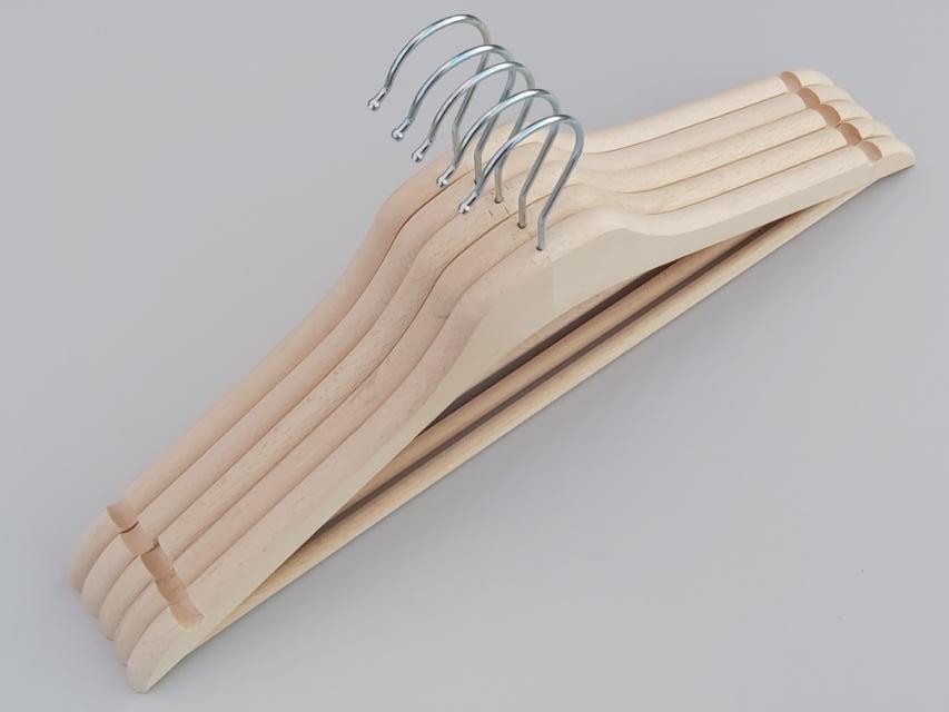 Плечики длиной 44 см деревянные ЕСО светлые усиленные, 5 штук в упаковке