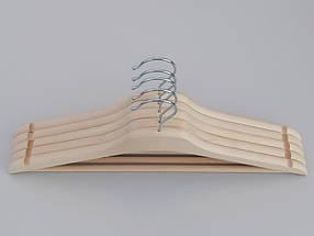 Плечики усиленные длиной 44 см деревянные ECO светлые,  в упаковке 5 штук, фото 2