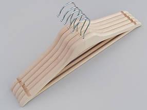 Плечики усиленные длиной 44 см деревянные ECO светлые,  в упаковке 5 штук, фото 3
