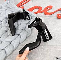 Кожаные туфли на устойчивом каблуке 36-40 р чёрный, фото 1