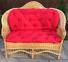 Диван плетеный с накидкой | диван из лозы для 3 человек | диван плетеный с подушкой