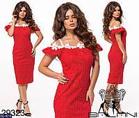 Красивое приталенное платье по фигуре с дорогим кружевом размеры 48-54 арт 348