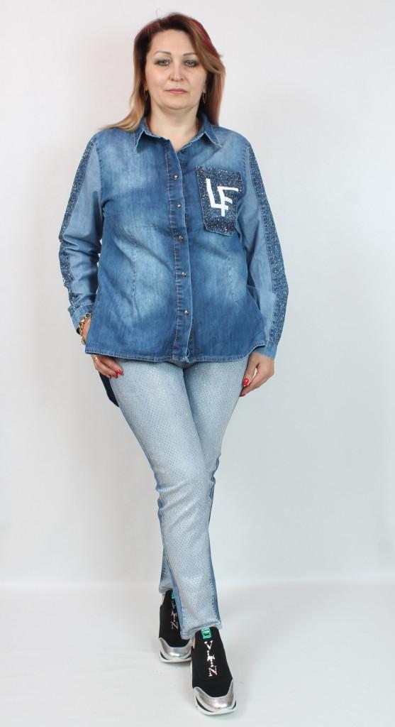 Турецкая женская джинсовая рубашка больших размеров 50-62