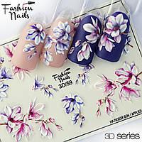Декор для маникюра Fashion Nails водный цветной 3D слайдер-дизайн цветы (3D/59)