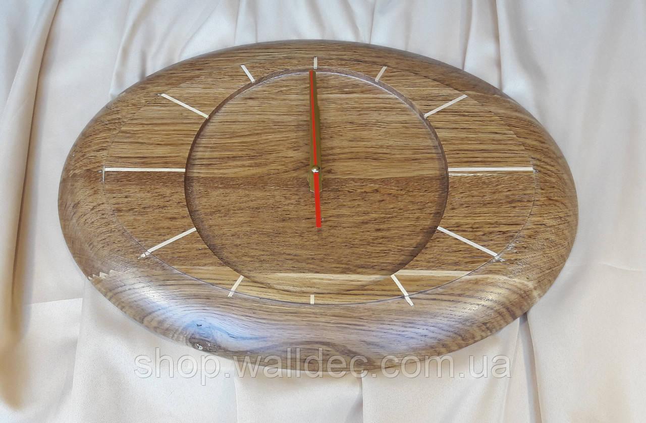 Часы из дерева,овальные дуб или ясень 450х330 мм