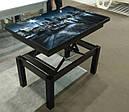 Стол трансформер Флай  венге  с черным стеклом , журнально-обеденный, фото 6