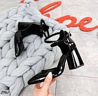 Туфли на каблуке из натуральной кожи лак 36-40 р чёрный, фото 1
