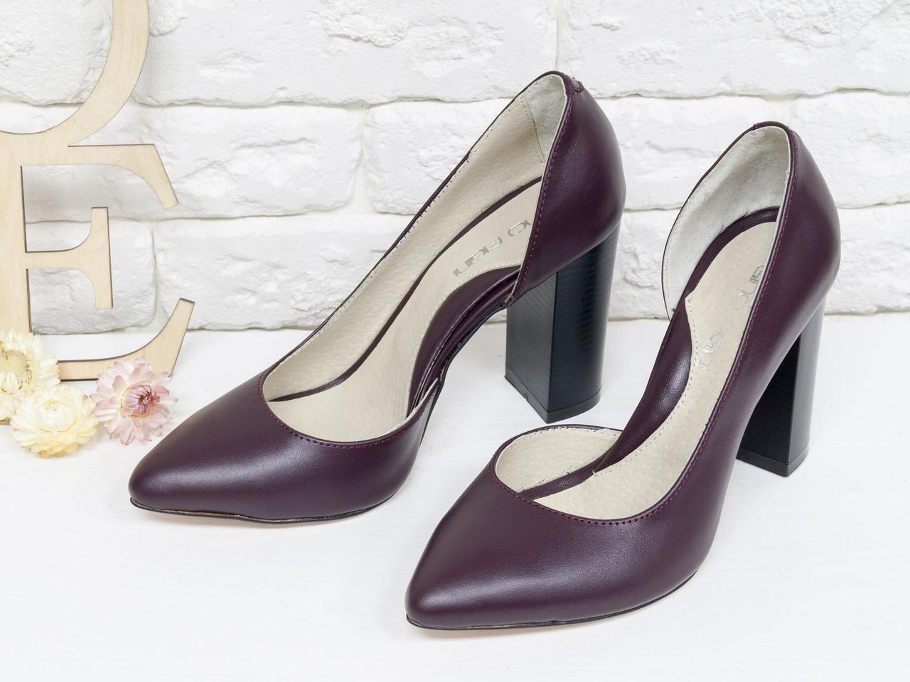 Красивые женские туфли из натуральной кожи бордового цвета 36-40р