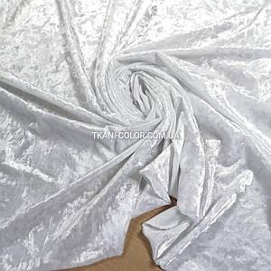 Тканина оксамит-мармур стрейчевий білий