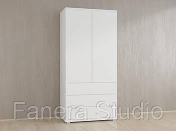Шкаф для одежды без ручек с полками и тремя ящиками из ДСП