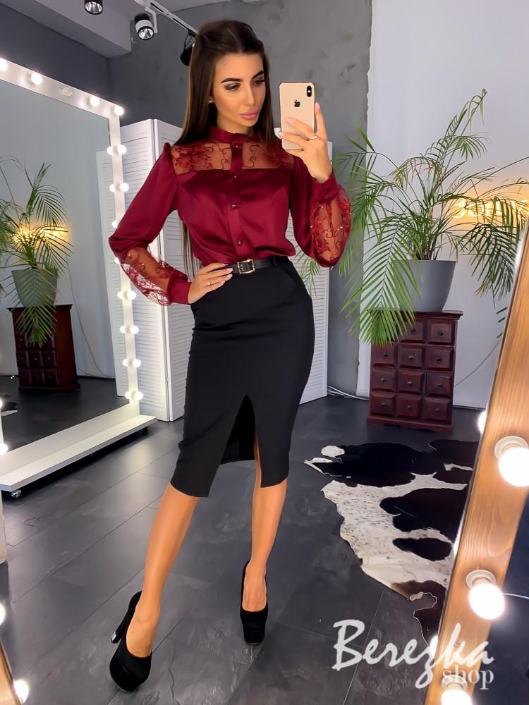 Женский юбочный костюм с шелковой рубашкой и юбкой - карандаш tez6610178Q