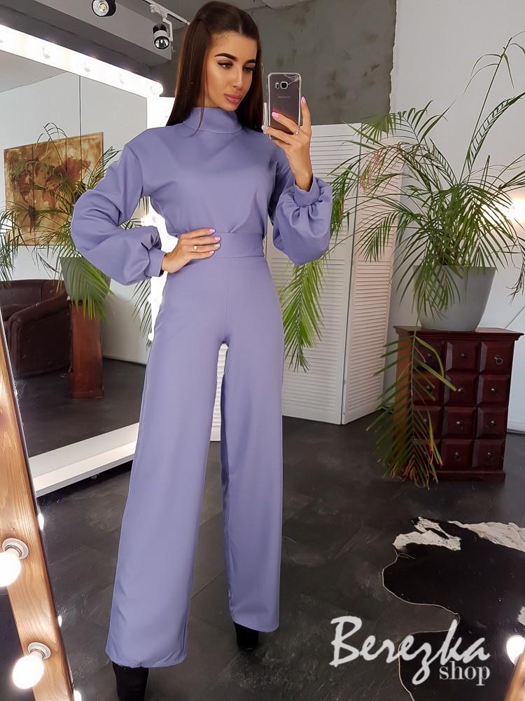 Женский элегантный костюм с брюками клеш и блузой с рукавами - фонариками tez6610189Е