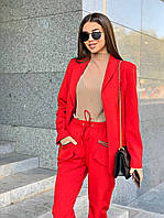 Женский брючный костюм с пиджаком и резинкой на брюках tez6310249, фото 1