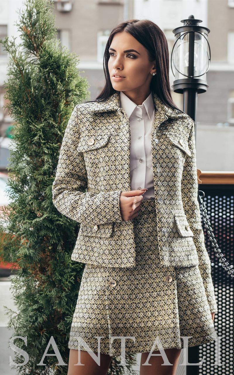 Женский юбочный твидовый костюм с жакетом tezr4510348